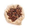 Top view of roasted coffee beans in jute bag Stock Photography