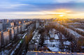 Top view from roof at Voronezh cityscape sunset, hdr photo, city Royalty Free Stock Photo