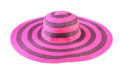 Top view of a round straw hat isolated on a white background. Royalty Free Stock Photo