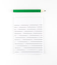 Top view of Ruled paper notepad with green pencil on white backg
