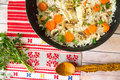 Top view of skillet with rice and vegetables Royalty Free Stock Photo