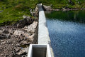 Top view of a small concrete dam Royalty Free Stock Photo