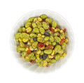 Top view small white bowl filled small serving edamame salad Royalty Free Stock Image