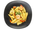 Top view of stir fry vegetables isolated on white