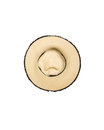 Top view of straw hat on white Royalty Free Stock Photo