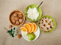 Top View.Table Appointments for Healthy Organic Breakfast.Walnut Royalty Free Stock Photo
