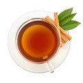 Top view of tea with cinnamon in glass cup Stock Photo