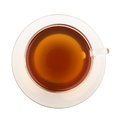 Top view of tea in glass cup Royalty Free Stock Images