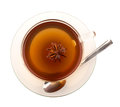 Top view of tea in glass cup with anise Stock Image