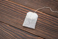 Top view teabag on wood a wooden background Royalty Free Stock Photos