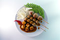 Top view of thai meatball with spicy sauce on white background style fried and tofu chinese cabbage and yard long bean are side Royalty Free Stock Images