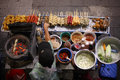 Top view of a Thai street food vendor in Bangkok Royalty Free Stock Photo