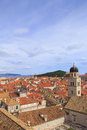 Top view of the  tile roofs and the sea in the Italian style in Dubrovnik, Croatia Royalty Free Stock Photo