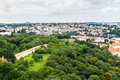 Top view to old town and Petrin park in Prague Royalty Free Stock Photo