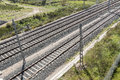 Top view of the train tracks Royalty Free Stock Photo