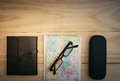 Top view of Traveler`s accessories, Essential vacation items, Tr Royalty Free Stock Photo