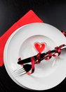 Top of view of valentine day dinner with table setting in red and elegant heart ornaments restaurant series holiday Royalty Free Stock Image