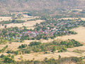 Top view of village landscape, village harvest fields in Thailand. Royalty Free Stock Photo