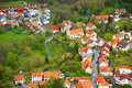 Top view of the village near Lichtenstein castle Royalty Free Stock Photo