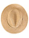Top of view of vintage summer straw hat isolated Royalty Free Stock Photo