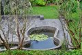 Top View On Well Cared Backyard With Patio And Pond Royalty Free Stock Photo