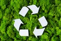 Photo : Recycle eco symbol hay concept