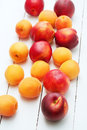 Top view of white wooden background with juicy orange apricots and bright fresh red nectarines and peaches.