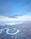 Top view of winter forest river aerial during day Stock Photo