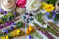 Top view of witchery scrolls with magic herbs, summer flowers and crystals on table