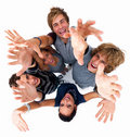 Top view of young friends with hands raised Stock Photos