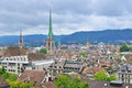 Top view of zurich switzerland the city from the university Stock Images