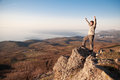 On the top of world man walking a rock Stock Images
