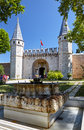 Topkapi palace gate of salutation istanbul turkey july the fountain in the first courtyard in front the turkey Stock Images
