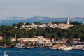 Topkapi palace istanbul the on top of a hill the golden horn and the bosphorus in the horizon turkey Royalty Free Stock Image