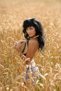 Topless Woman In Wheatfield Stock Photos
