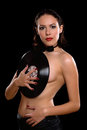 Topless young woman with vinyl Royalty Free Stock Photo
