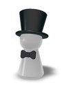 Topper play figure with bow tie and on white background d illustration Stock Photo