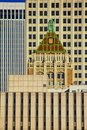 The tops of new and old buildings crowded together in downtown Tulsa OK Royalty Free Stock Photo
