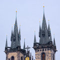 The tops of two towers of Church of Our Lady in Prague Royalty Free Stock Photo