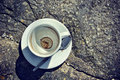 Topview of empty coffee cup on stone surface Stock Photography