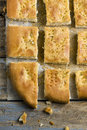 Topview Sliced Focaccia Bread Royalty Free Stock Photography