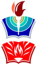 Torch and book logo