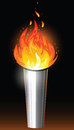 Torch with flame illustration of silver and burning Stock Photos