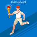 Olympics Paralympics Torchbearer Relay Running Men Summer Games Icon Set.Speed Concept.3D Isometric Athlete.Sporting Competition