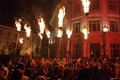 Torches in the dark night grand square sibiu transylvania romania june sibiu international theatre festival firebirds an open air Royalty Free Stock Images