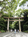 Tori gate to meiji shrine entrance in shinjuku tokyo Stock Photos