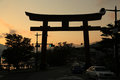 Torii gate in the evening Royalty Free Stock Photo