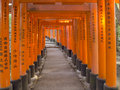 Torii gate at fushimi inari shrine kyoto pathway under tunnel of in japan Royalty Free Stock Image