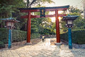 Torii gate in japan at nezu temple tokyo Royalty Free Stock Photography