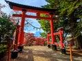 Torii gate to chureito pagoda, Fujiyoshida, Japan Royalty Free Stock Photo
